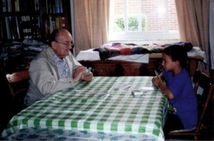 My father playing cards with his grandson David ~ best friends.