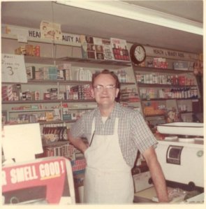 My father at his store in the 1950's.